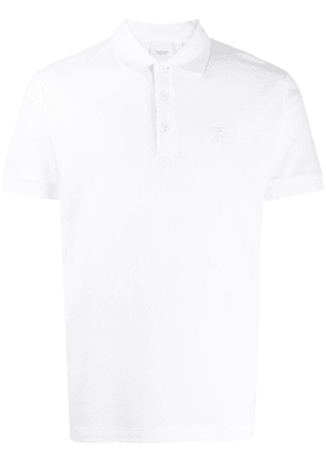 Burberry embroidered monogram polo shirt - White