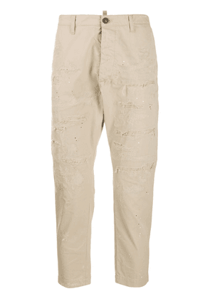 Dsquared2 distressed cropped trousers - Neutrals