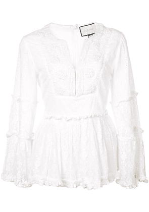 Alexis embroidered top - White