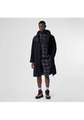 Burberry Vintage Check Faux Shearling Drawcord Shorts, Blue