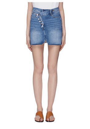 'Exposed Overlap' denim skirt