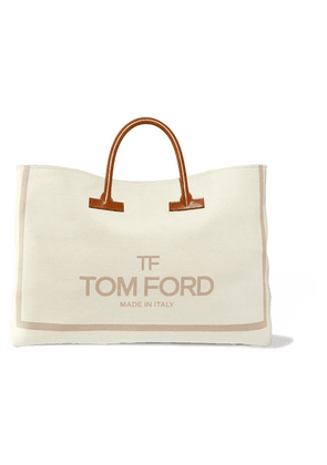 TOM FORD - T Leather-trimmed Printed Canvas Weekend Bag - Beige