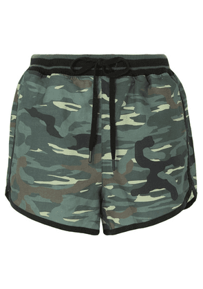 The Upside - Camouflage-print Linen And Tencel-blend Shorts - Army green