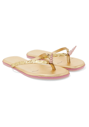 TKEES Kids - Glittered Leather Flip Flops - Gold