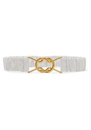 Bottega Veneta - Ruched Leather Belt - White