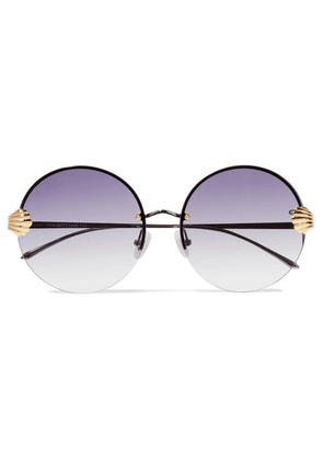 For Art's Sake - Goddess Round-frame Silver And Gold-tone Sunglasses - Purple