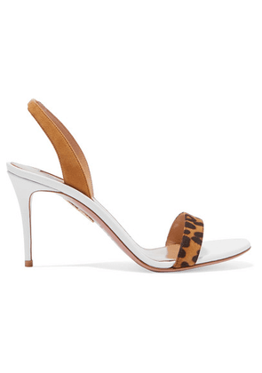 Aquazzura - So Nude 85 Leopard-print Suede And Leather Slingback Sandals - Leopard print