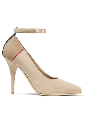 Burberry - Striped Studded Suede Pumps - Beige