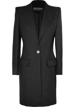 Balmain - Button-embellished Metallic Wool-blend Coat - Black