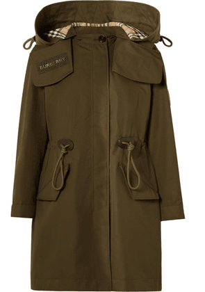 Burberry - Oversized Hooded Cotton-gabardine Parka - Army green