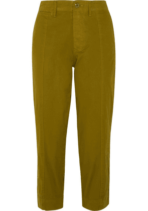 Alex Mill - Cropped Cotton-blend Twill Tapered Pants - Green