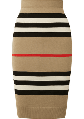 Burberry - Striped Merino Wool Skirt - Beige