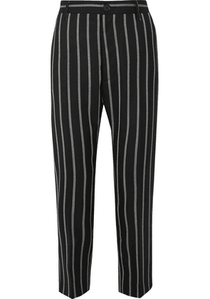 Vivienne Westwood - James Bond Cropped Striped Wool Slim-leg Pants - Black