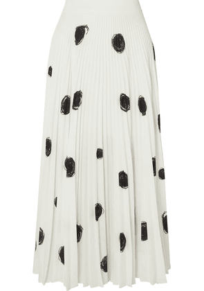 Christopher Kane - Pleated Printed Crepe De Chine Midi Skirt - White