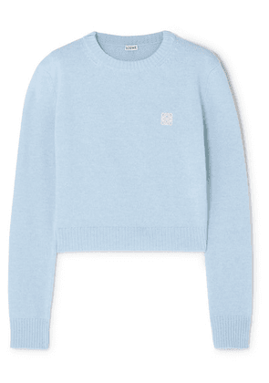 Loewe - Cropped Embroidered Wool Sweater - Blue