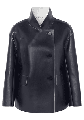 Marni - Double-breasted Leather Jacket - Navy