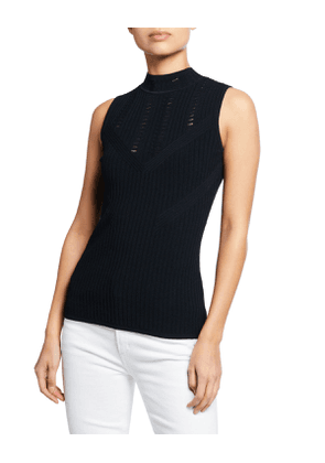 Malikah Mock-Neck Sleeveless Sweater