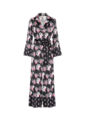 Dragonfly printed satin jumpsuit