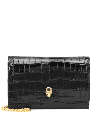 Skull Mini croc-effect crossbody bag