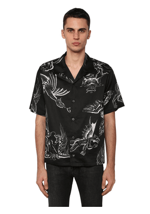 Dragon Print Cotton Bowling Shirt