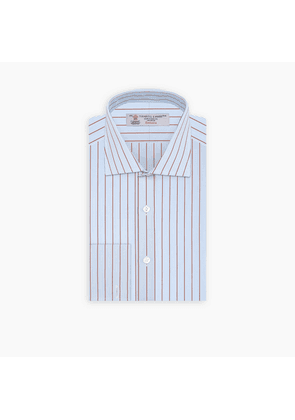 Sky Blue and Red Pinstripe Shirt with Regent Collar and Double Cuffs