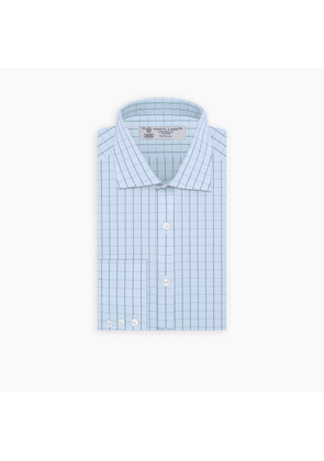 Sky Blue and Turquoise Pin Check Shirt with Regent Collar and.