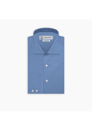 Tailored Fit Deep Blue Cotton Shirt with Kent Collar and 2-Button.