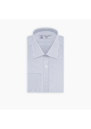 Navy and White Small Check Shirt with T & A Collar and 3-Button Cuffs