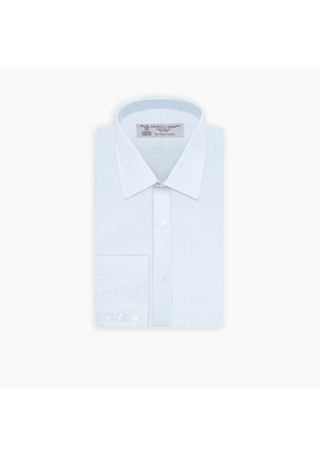 Sky Blue Highlight Stripe Sea Island Quality Cotton Shirt with T & A.