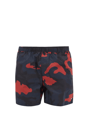 Valentino - Rockstud Embellished Camo Print Swim Shorts - Mens - Blue Multi
