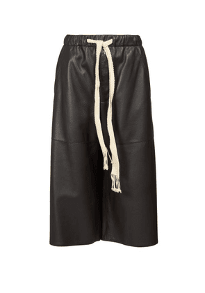 Loewe - Drawstring Leather Culottes - Womens - Black