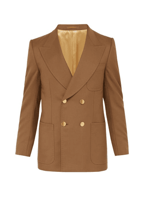 Gucci - Double Breasted Twill Blazer - Mens - Brown