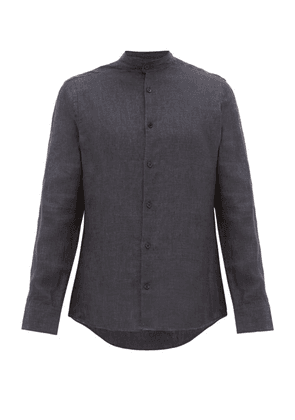 Frescobol Carioca - Band Collar Slubbed Linen Poplin Shirt - Mens - Black