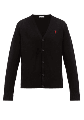 Ami - Logo Embroidered Wool Cardigan - Mens - Black