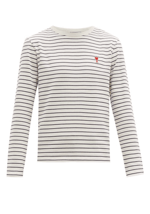 Ami - Logo Patch Striped Cotton Long Sleeved T Shirt - Mens - White Multi