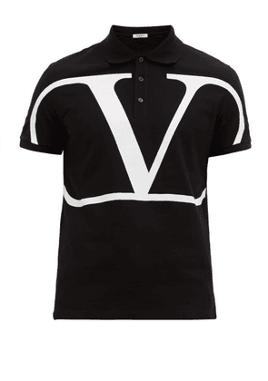 Valentino - V Logo Cotton Piqué Polo Shirt - Mens - Black