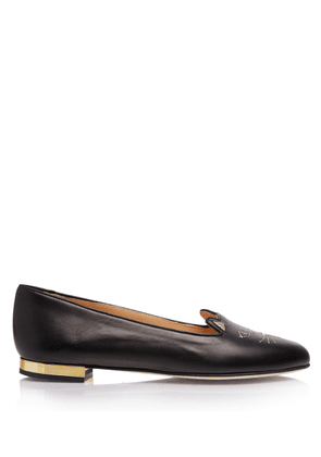 Charlotte Olympia Flats Women - NOCTURNAL KITTY BLACK Smooth Nappa 39