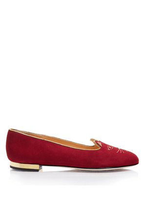 Charlotte Olympia Flats Women - SOFT KITTY FLATS BORDEAUX Suede 34
