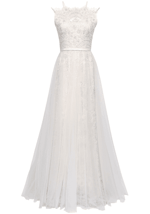 Catherine Deane Pleated Embellished Tulle And Lace Bridal Gown Woman Ecru Size 12
