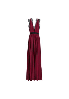 Catherine Deane Lace-trimmed Plissé-satin Gown Woman Plum Size 6