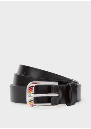 Women's Black 'Swirl' Buckle Leather Belt
