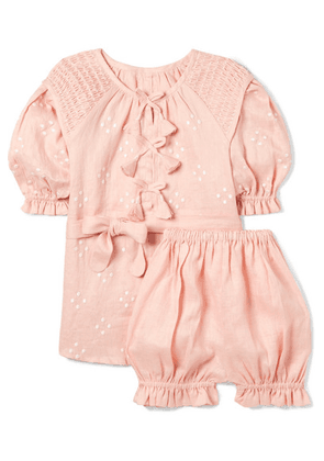 Innika Choo Kids - Smocked Embroidered Linen Dress And Bloomers Set - Pink
