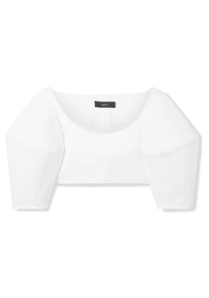 Ellery - Neatly Labeled Cropped Cotton-twill Top - White