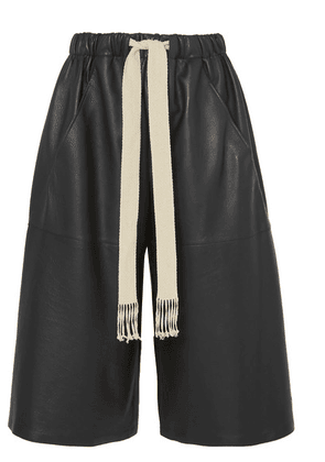 Loewe - Cropped Leather Wide-leg Pants - Black
