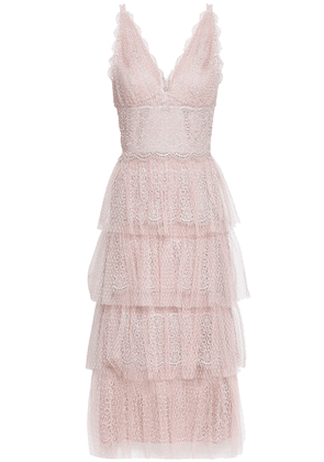 Catherine Deane Katiana Tiered Lace Midi Dress Woman Pastel pink Size 12