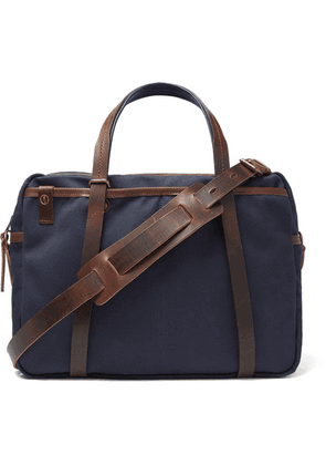 Bleu de Chauffe - The Reporter Leather-trimmed Waxed-cotton Briefcase - Blue