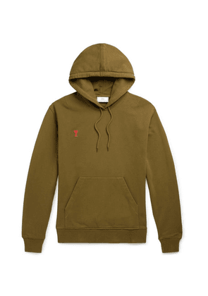 AMI - Logo-appliquéd Cotton-jersey Hoodie - Green