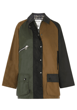 Barbour - + Alexachung Corduroy-trimmed Color-block Waxed-cotton Jacket - Green