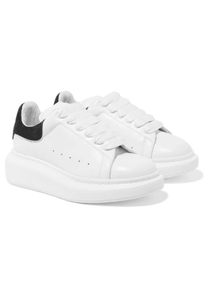 Alexander McQueen Kids - Suede-trimmed Leather Exaggerated-sole Sneakers - White