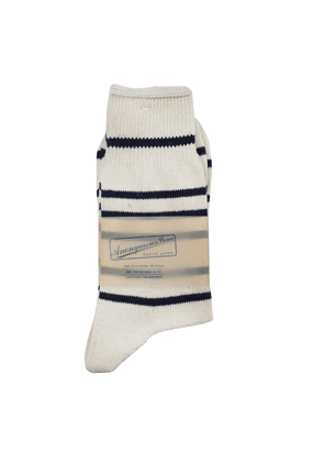Anonymous-Ism Socks - Cream with Navy Stripe